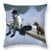 The Fisherman, Detail Of A Man Fishing Throw Pillow
