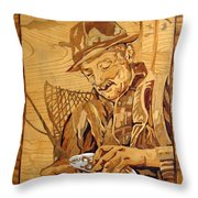The Fisherman With The Fish Throw Pillow