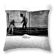 The Fishermen And The Sea... Throw Pillow