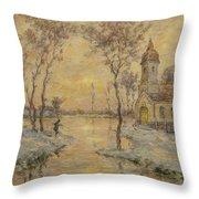 The Fishermens Chapel Under Snow Throw Pillow