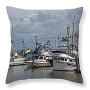 The Fishing Boats At Westport Throw Pillow
