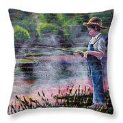 The Fishing Boy Throw Pillow
