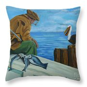 The Fishing Buddies Throw Pillow