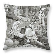 The Fishing Party Throw Pillow