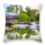 The Fishing Village Throw Pillow