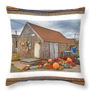 The Fishing Village Scene Throw Pillow