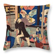 The Five Nations Enjoying A Drunken Revel At The Gankiro Tea House Throw Pillow