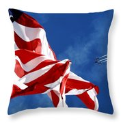 The Flag And The Blue Angels Throw Pillow