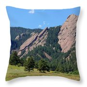 The Flatirons Throw Pillow by Bob Hislop