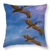 The Flight Of The Pelican Throw Pillow