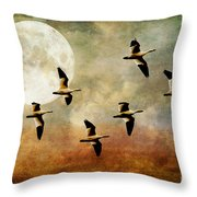 The Flight Of The Snow Geese Throw Pillow