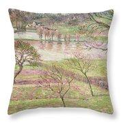 The Flood At Eragny Throw Pillow