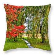 The Flow Of Autumn Throw Pillow