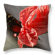 The Flower And The Butterfly Throw Pillow