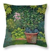 The Flower Pot Cat Throw Pillow by Ditz