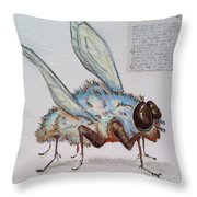 The Fly Throw Pillow by Vickie Scarlett-Fisher