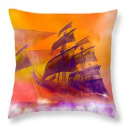 The Flying Dutchman Ghost Ship Throw Pillow