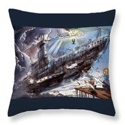 The Flying Submarine Throw Pillow