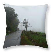 The Fog Of Road Throw Pillow