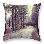 The Forest Road Retro Throw Pillow