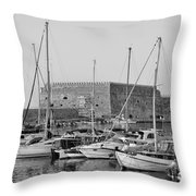 The Fortress And The Port In Iraklio City Throw Pillow