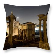 The Forum Temples At Night Throw Pillow