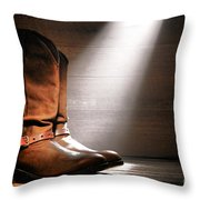 The Found Boots Throw Pillow by Olivier Le Queinec