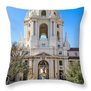 The Fountain - The Beautiful Pasadena City Hall. Throw Pillow