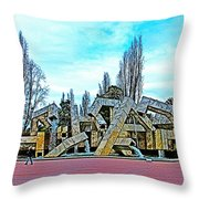 The Fountain At Justin Herman Plaza Near Embarcadero In San Francisco-california Throw Pillow