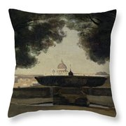 The Fountain Of The French Academy In Rome, 1826-27 Oil On Canvas Throw Pillow