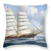 The Four-masted Barque Cedarbank At Sea Under Full Sail Throw Pillow