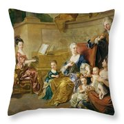 The Franqueville Family, 1711 Oil On Canvas Throw Pillow