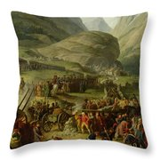 The French Army Travelling Over The St. Bernard Pass At Bourg St. Pierre, 20th May 1800, 1806 Oil Throw Pillow