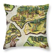 The French Arrive At Port Royal Throw Pillow
