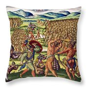 The French Help The Indians In Battle Throw Pillow