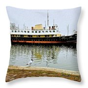 The Friesland In Enkhuizen Harbor-netherlands Throw Pillow
