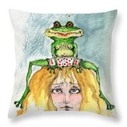 The Frog And The Princess Throw Pillow