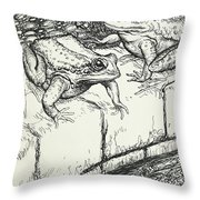 The Frogs And The Well Throw Pillow