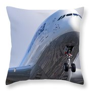 The Front Office Lufthansa Airbus A-380 Throw Pillow