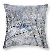 The Frozen Bridge Throw Pillow by Maria Angelica Maira