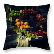 The Fruit Seller - New York City Street Scene Throw Pillow