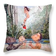 The Game Of The River Throw Pillow
