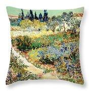 The Garden At Arles, 1888 Throw Pillow