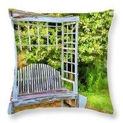 The Garden Bench In Spring  Throw Pillow