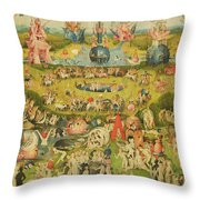 The Garden Of Earthly Delights Allegory Of Luxury, Central Panel Of Triptych, C.1500 Oil On Panel Throw Pillow
