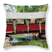 The Gardner Villiage Bridge Throw Pillow