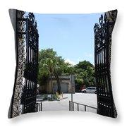The Gate At Vizcaya Gardens Throw Pillow