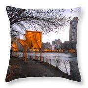 The Gates - Central Park New York - Harlem Meer Throw Pillow by Gary Heller