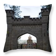 The Gates Leading Into New Sigulda Castle Throw Pillow