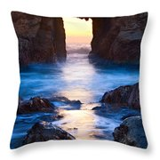 The Gateway - Sunset On Arch Rock In Pfeiffer Beach Big Sur In California. Throw Pillow by Jamie Pham